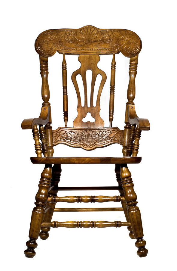 Antique wooden chair front view royalty free stock photo