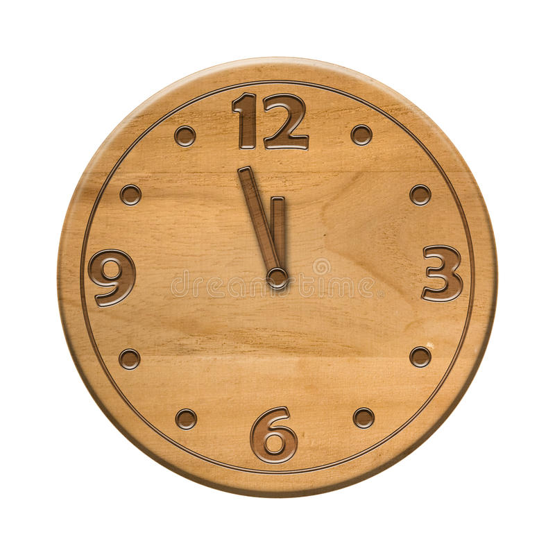 Free Antique Wooden Clock Face On The White Background Stock Image - 12064241
