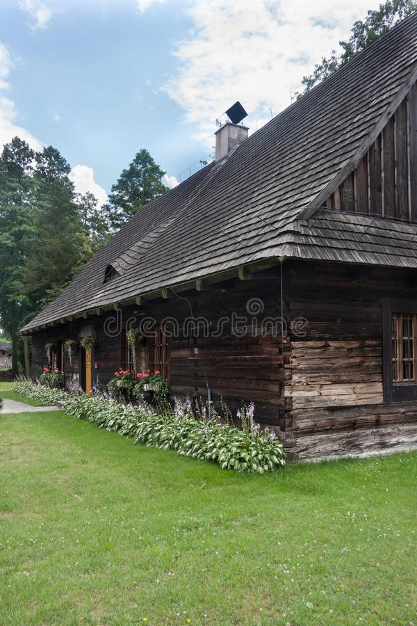 An antique wooden cottage with a log construction without remnants from 1831. Village Kielcza, Opole province, Poland, Europe royalty free stock images