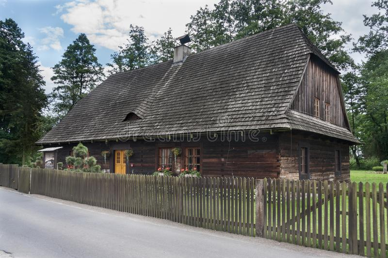An antique wooden cottage with a log construction without remnants from 1831. Village Kielcza, Opole province, Poland, Europe stock photos