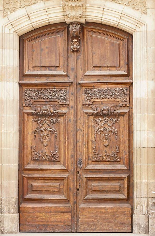 Antique wooden door stock photo