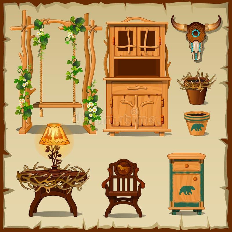 Antique wooden furniture on the beige background stock illustration