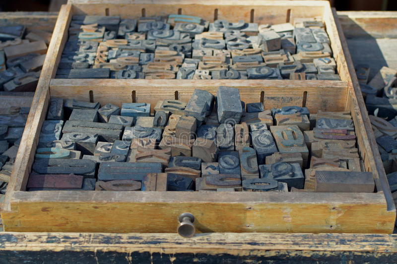 Antique wooden letters stock photo