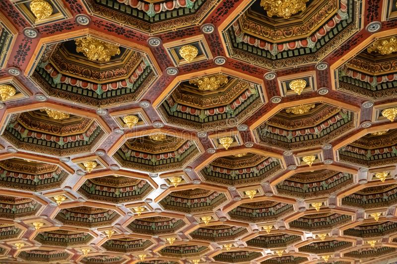 Antique wooden ornamentet ceiling texture stock photography