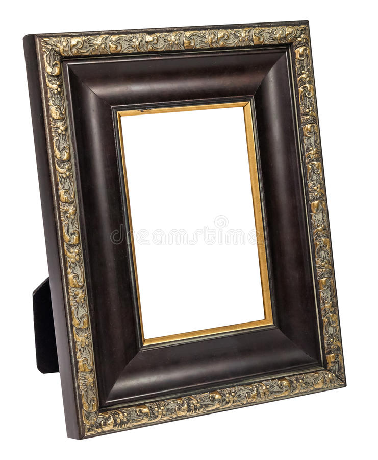 Antique wooden photo frame isolated on white background royalty free stock photo