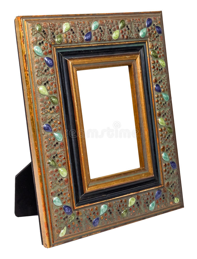 Antique wooden photo frame isolated on white background royalty free stock photography