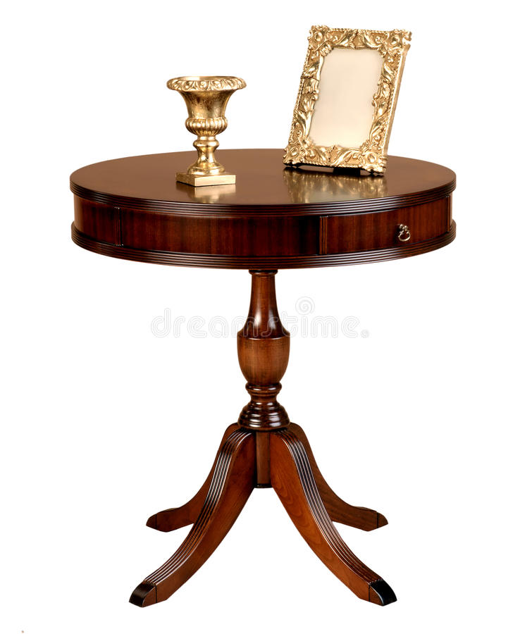 Antique wooden round table stock photo