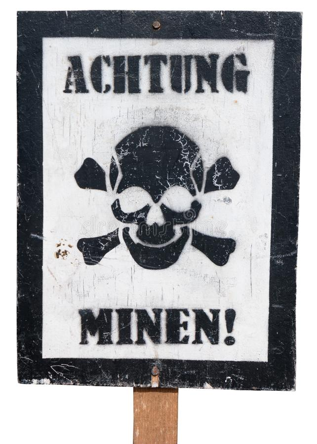 Vintage German Warning Sign on a White Background stock images
