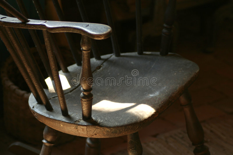 Antique wooden straight chair stock image