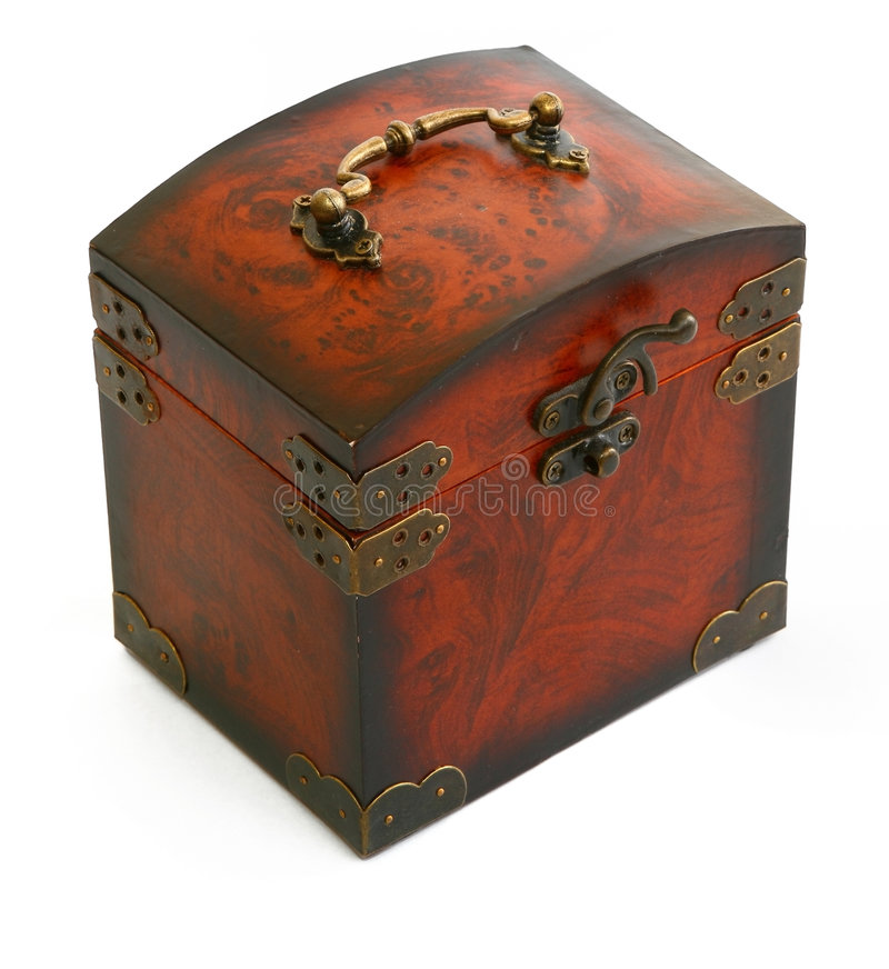 Antique wooden trunk stock images
