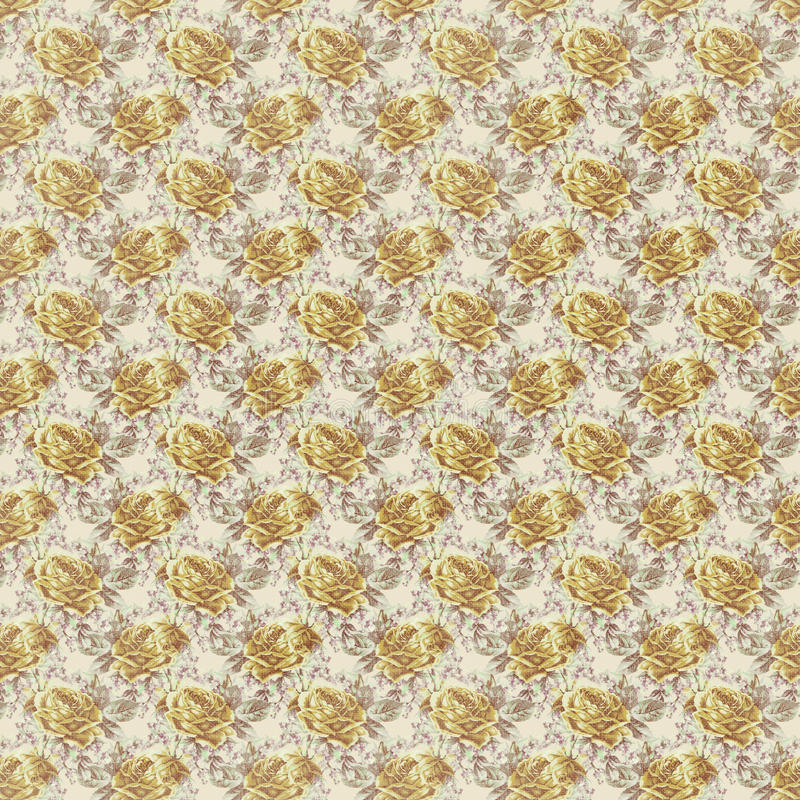 Antique yellow shabby chic rose repeat pattern wallpaper. Antique shabby chic rose seamless repeat pattern wallpaper stock image