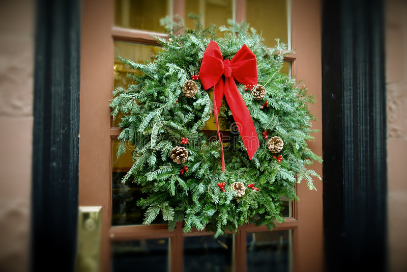 Download Antiqued Christmas Wreath Hanging On Door Stock Photo   Image Of  Pine, Green: