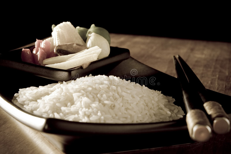 Antiqued Rice and Vegtables royalty free stock photo
