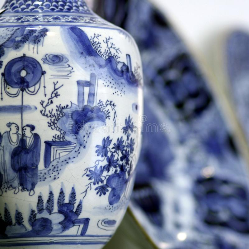 Antiques chinese pottery detail. Asian antiques blue white pottery stillife stock photo