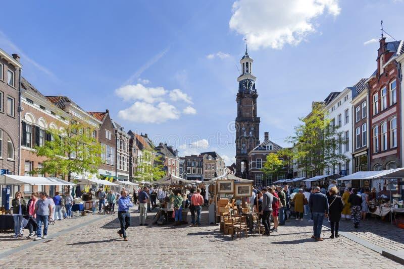 Antiques and curiosities market on the Groenmarkt in Zutphen. Zutphen, Netherlands – August 26, 2018: Antiques and curiosities market on the Groenmarkt in royalty free stock photo