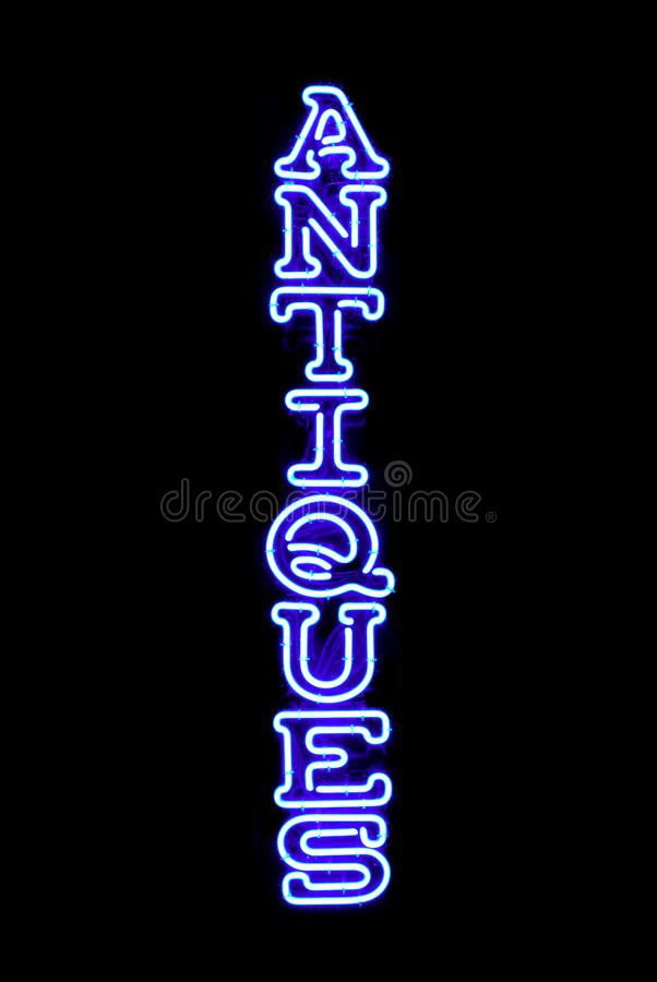 Antiques Neon Sign Royalty Free Stock Photo