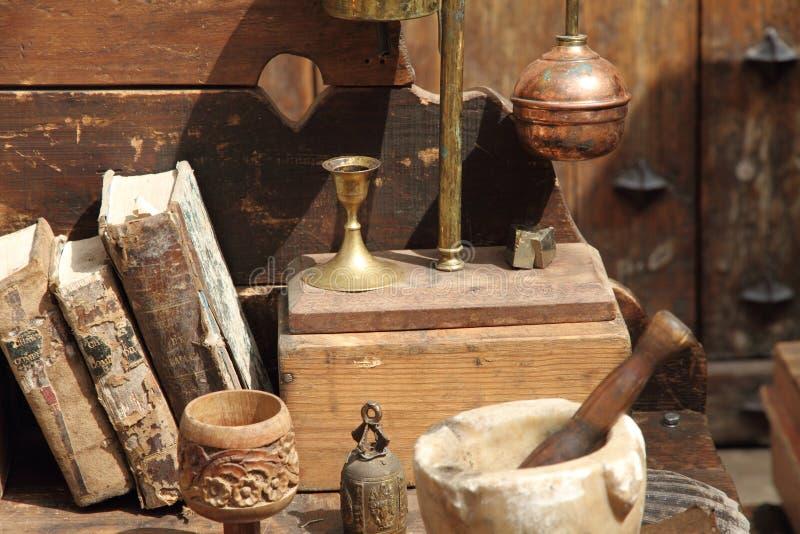 Antiques. Rubielos de Mora during the Medieval market,Teruel,Spain stock image