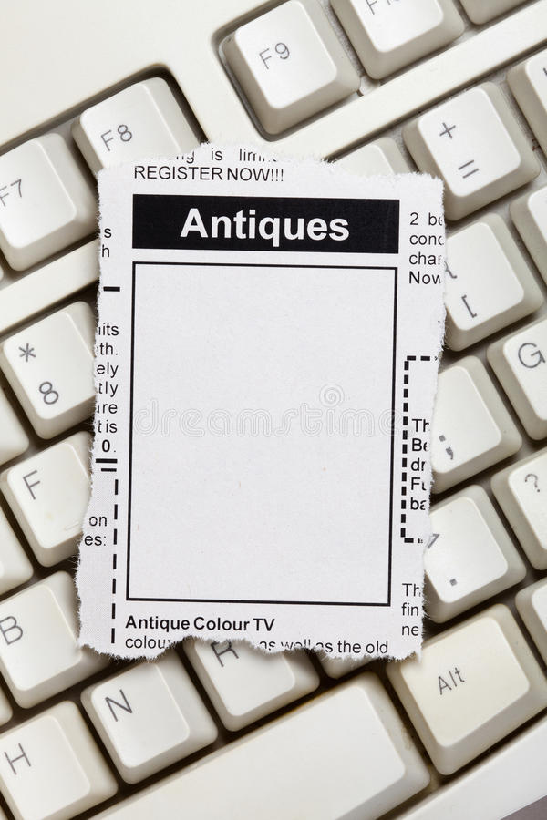 Download Antiques Sale ad stock photo. Image of newspaper, torn - 36402854