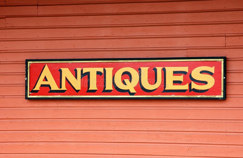 Antiques For Sale Sign royalty free stock photo