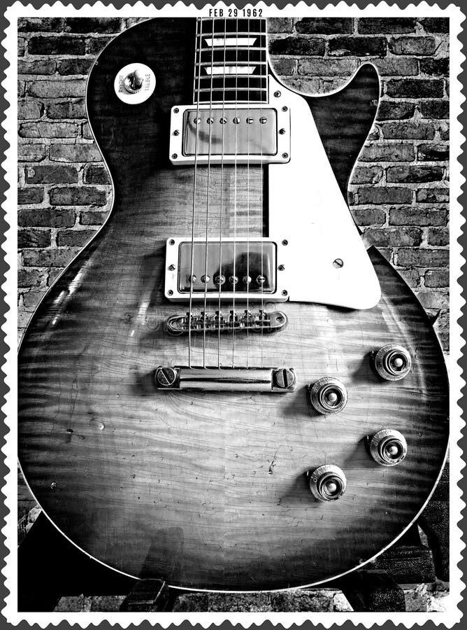 Antiquité ancienne donnée de traitement de photo de guitare électrique de vintage images stock