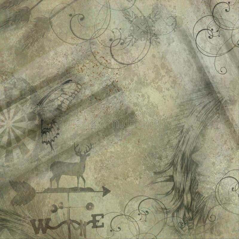 Antiquiteit die grunge achtergrond met exemplaarruimte kijkt vector illustratie