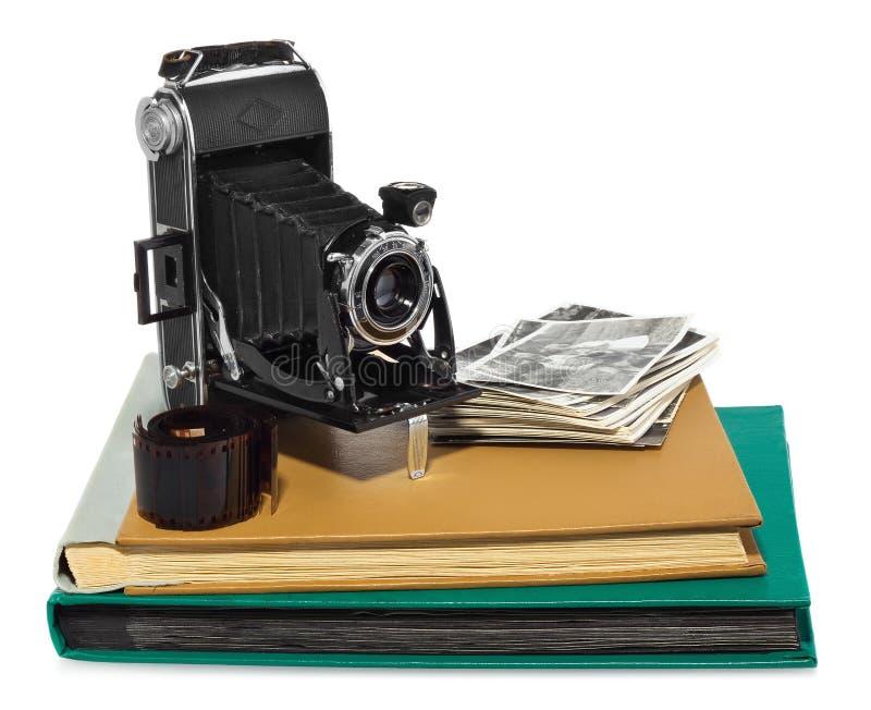 Antiquiteit, zwarte, zakcamera, oude fotoalbums, retro zwart-witte foto's, historische negatief voor de camera royalty-vrije stock afbeelding