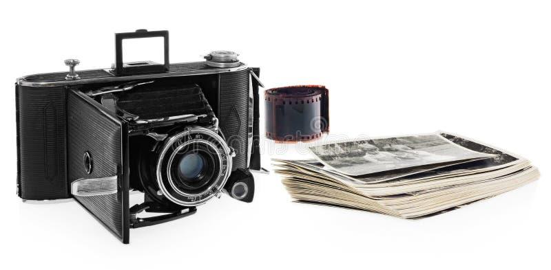 Antiquiteit, zwarte, zakcamera, retro zwart-witte foto's, historische negatief voor de camera stock afbeelding