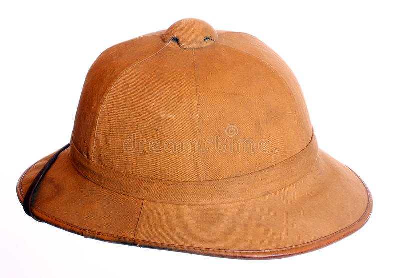 Antiquity cork helmet. Antiquity cork helmet for tropical destination. Isolated on white background stock photography