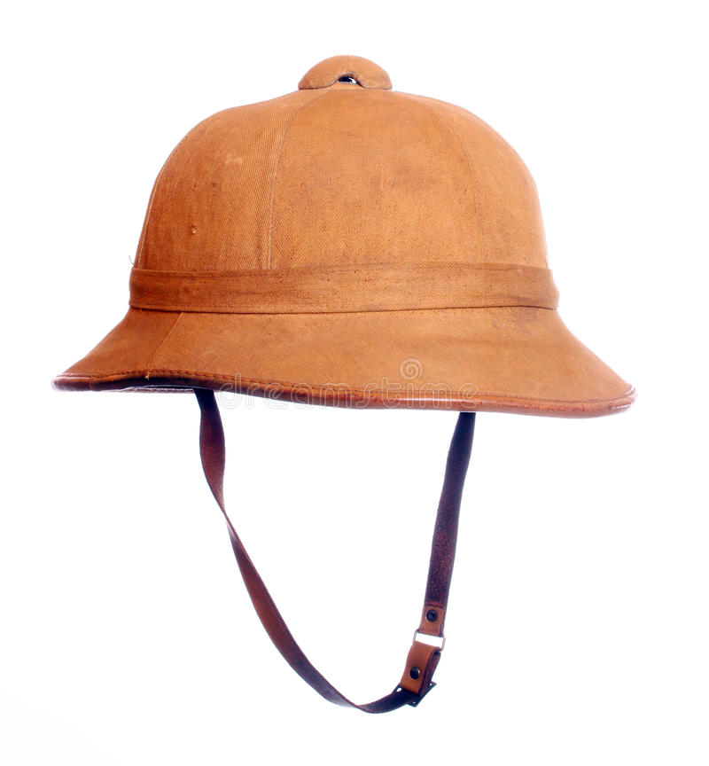 Antiquity cork helmet. Antiquity cork helmet for tropical destination. Isolated on white background royalty free stock image