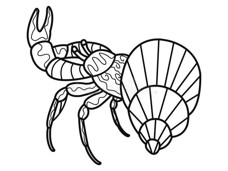 antispannings kleurend boek voor volwassenen Schaaldier op de bodem van de rivier Kanker of garnalen Krab Zwarte lijnen royalty-vrije illustratie