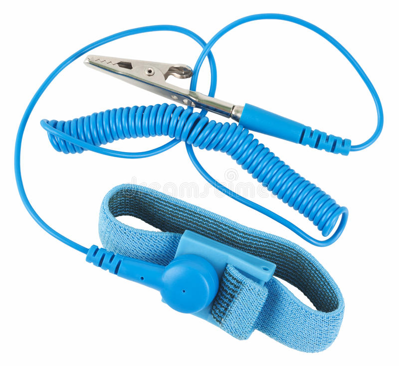 Antistatic wrist strap. ESD wrist strap, or ground bracelet is an antistatic device used to safely ground a person working on very sensitive electronic royalty free stock images