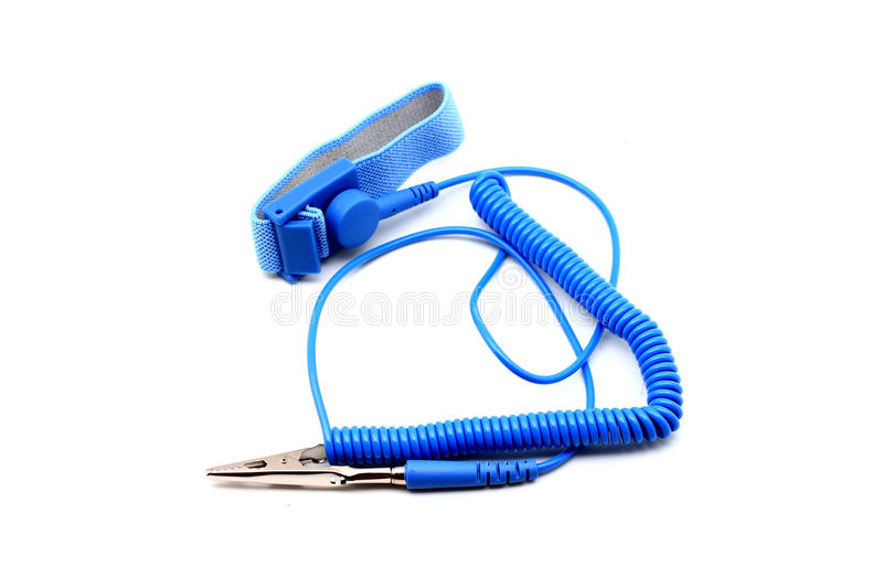 Antistatic wrist strap, ESD wrist strap. Or ground bracelet is an antistatic device used to safely ground a person working on very sensitive electronic stock photos