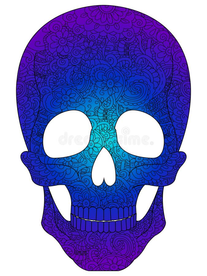 Antistress coloring book for adults. Colored in blue shades. Human skull, Halloween, painted with patterns, flowers. Vector illustration vector illustration