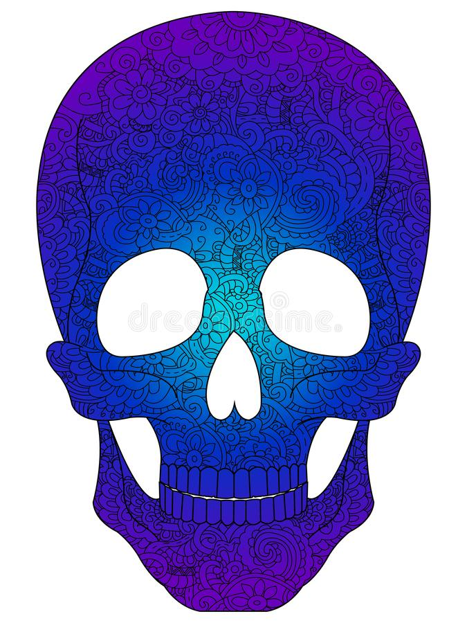 Antistress coloring book for adults. Colored in blue shades. Human skull, Halloween, painted with patterns, flowers. Raster illustration royalty free illustration