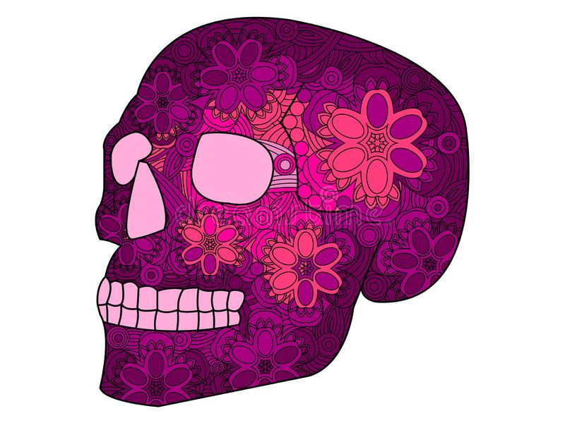 Antistress coloring book for adults. Colored in crimson shades. Human skull, Halloween, painted with patterns, flowers. Raster illustration vector illustration