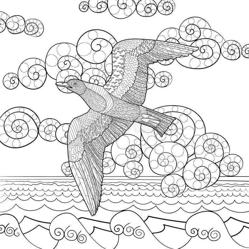 Free Antistress Coloring Page With Seagull. Royalty Free Stock Photography - 63997077