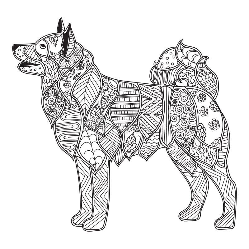 Antistress eller barn för hund som vuxet färgar sidan vektor illustrationer