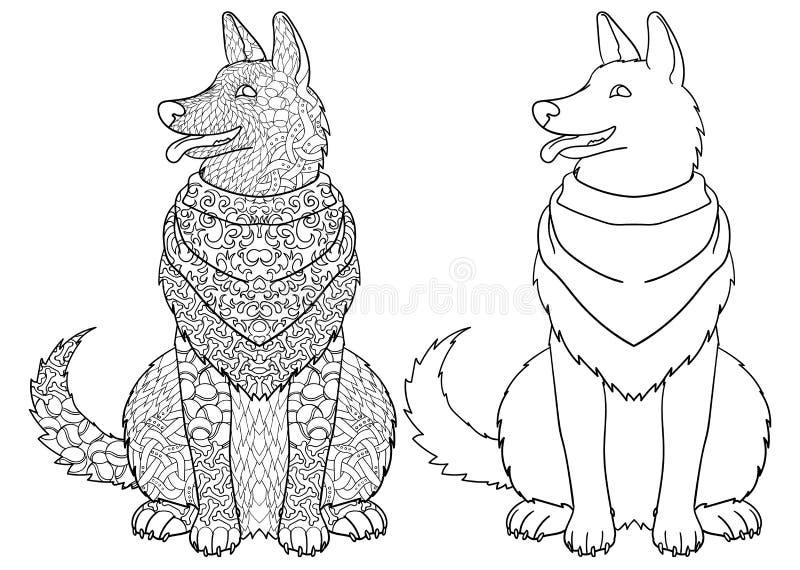 Antistress färgläggningsida med hunden stock illustrationer