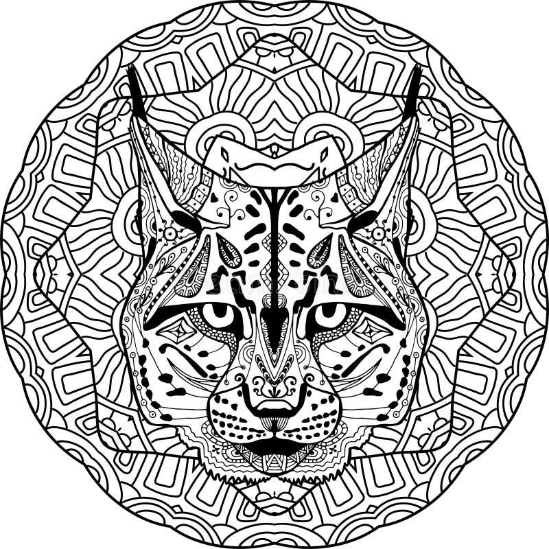 Antistress kleuren De sterke lynx, wordt bobcat getrokken met de hand met inkt vector illustratie