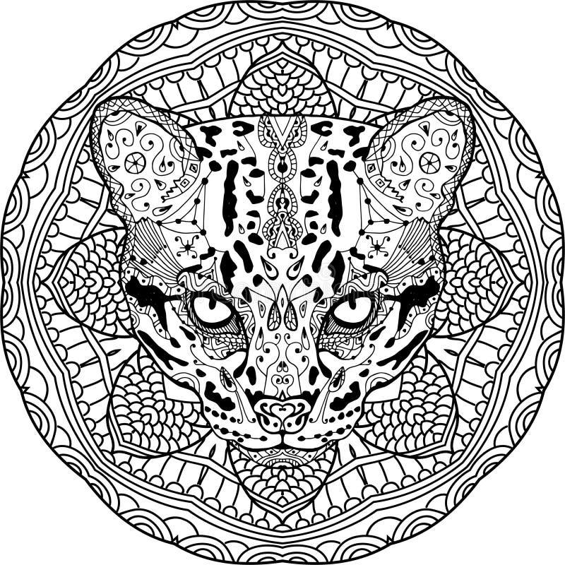 Antistress kleuren De sterke wilde kat wordt getrokken met de hand met inkt Zendoodle royalty-vrije illustratie