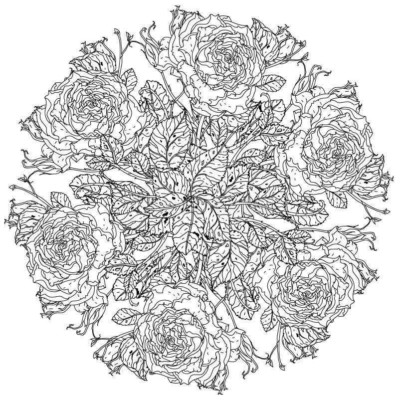Antistress stil för stillebenfärgläggningbok vektor illustrationer