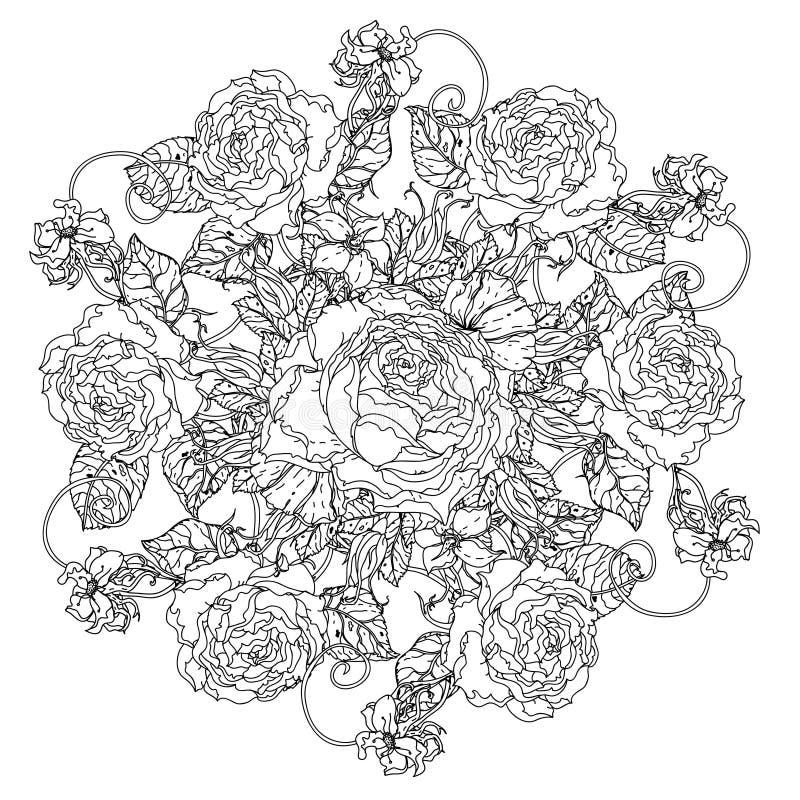 Antistress stil för stillebenfärgläggningbok stock illustrationer