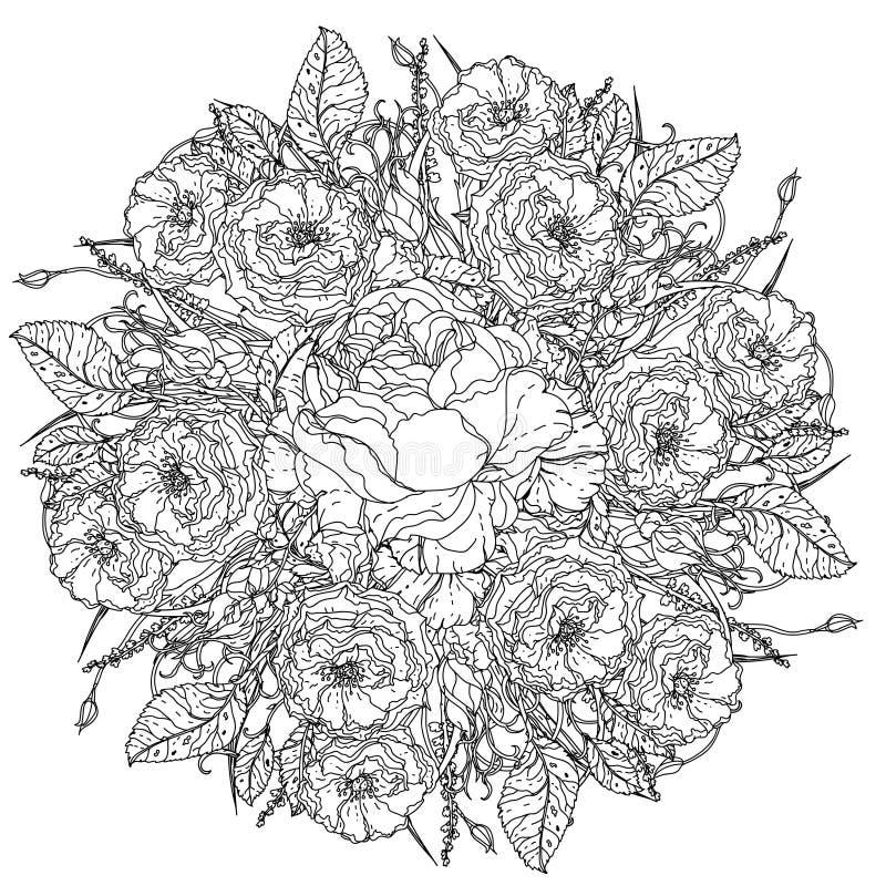 Antistress stil för stillebenfärgläggningbok royaltyfri illustrationer