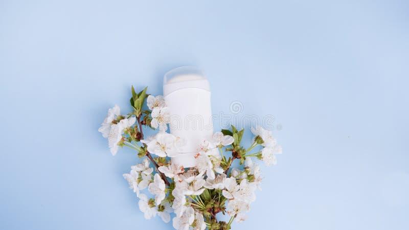 Antitranspirationsroller des desodorierenden Mittels mit Blumen um sich Beschneidungspfad eingeschlossen Blumenduftkonzept mit Ko lizenzfreies stockfoto
