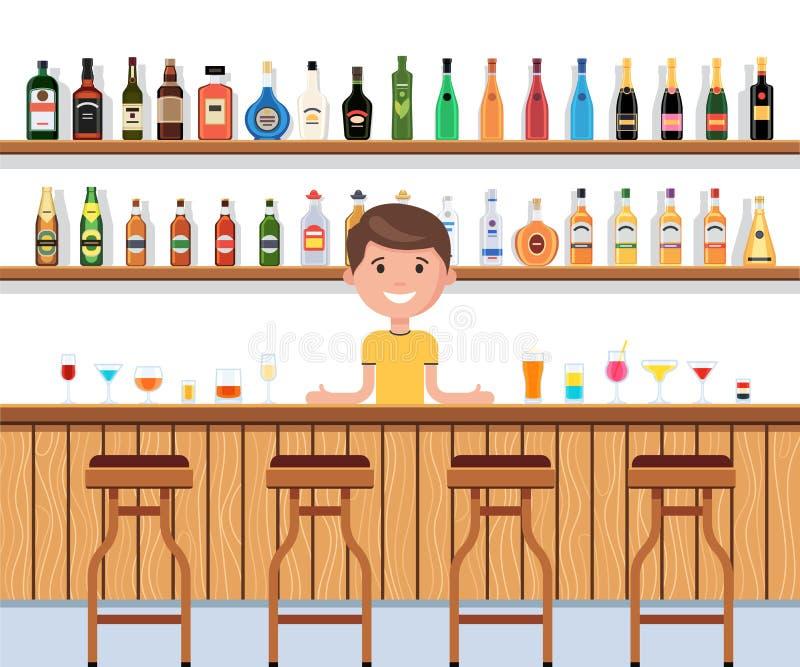 Antivari con il barista ed il cocktail illustrazione vettoriale