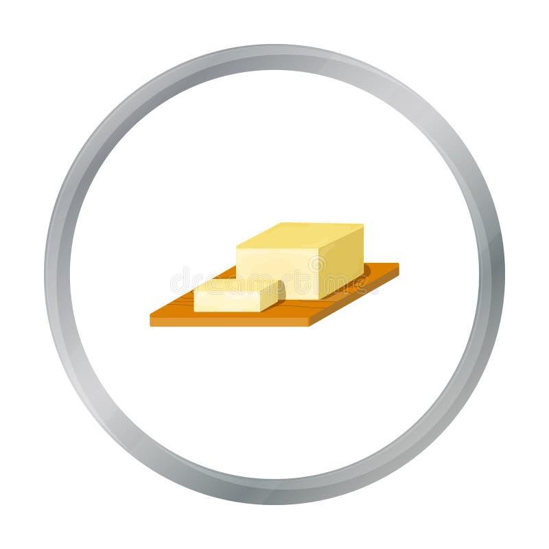 Antivari di burro sull'icona del tagliere nello stile del fumetto isolata su fondo bianco illustrazione di stock