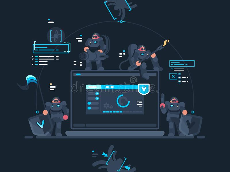 Antivirus computer security. Group of fighters with virus internet. Vector illustration vector illustration