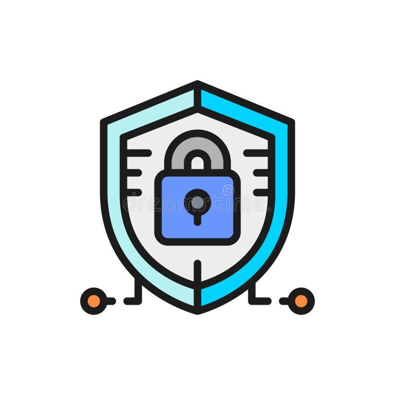 Antivirus, data protection, cyber security flat color line icon. Vector antivirus, data protection, cyber security flat color line icon. Symbol and sign stock illustration