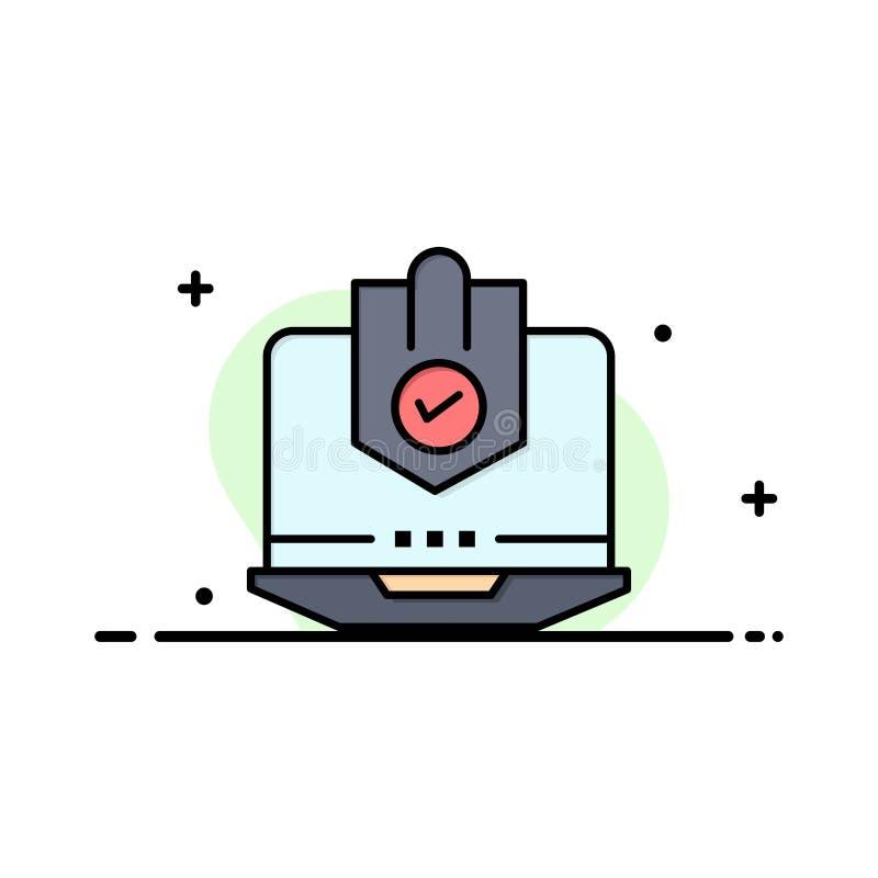 Antivirus dator, internet, bärbar dator som skyddas, skydd, säkerhetsaffär Logo Template plan f?rg stock illustrationer