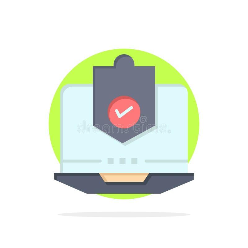 Antivirus dator, internet, bärbar dator som skyddas, skydd, symbol för färg för bakgrund för säkerhetsabstrakt begreppcirkel plan stock illustrationer